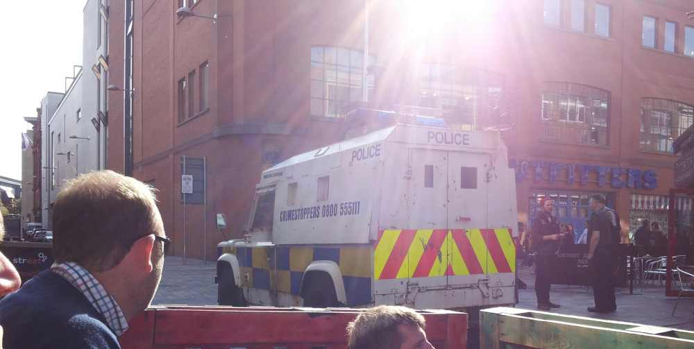 Tourists in Belfast bar watch RUC Land Rover