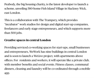 Evening Standard Property Hackney Wick co-working article