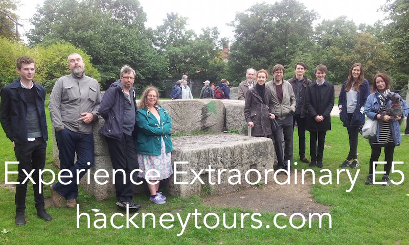 Clapton Henge Chatsworth tour group pic Hackney Tours annotated small