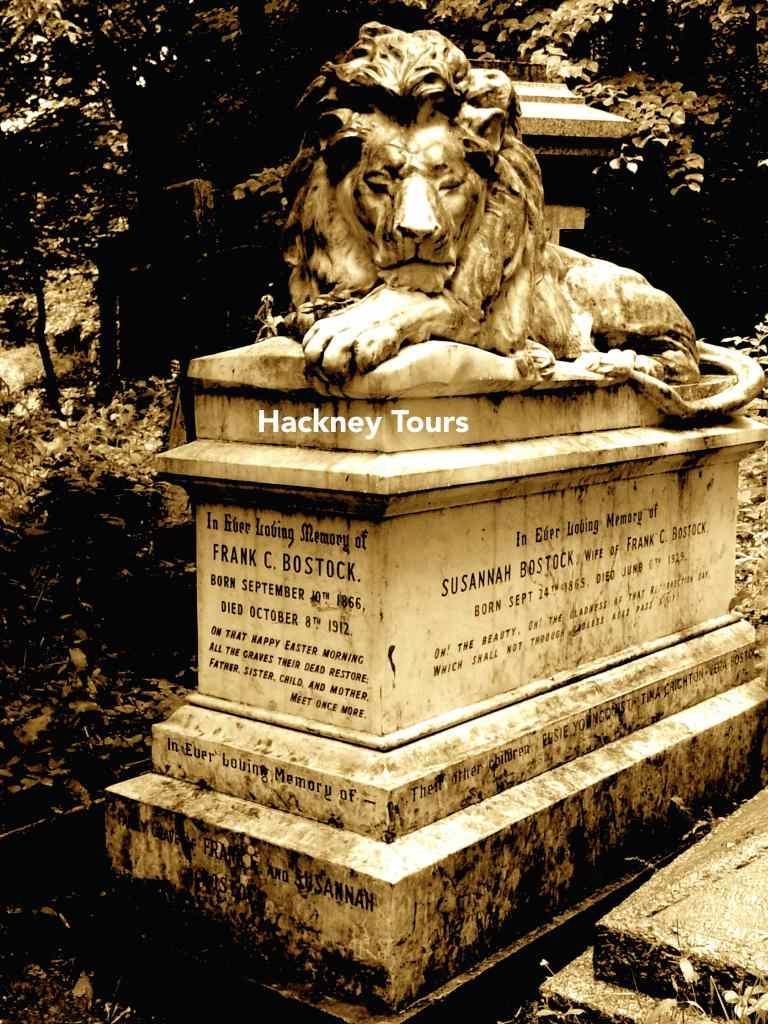 Bostock tombstone Abney lion sepia Gothic tour annotated