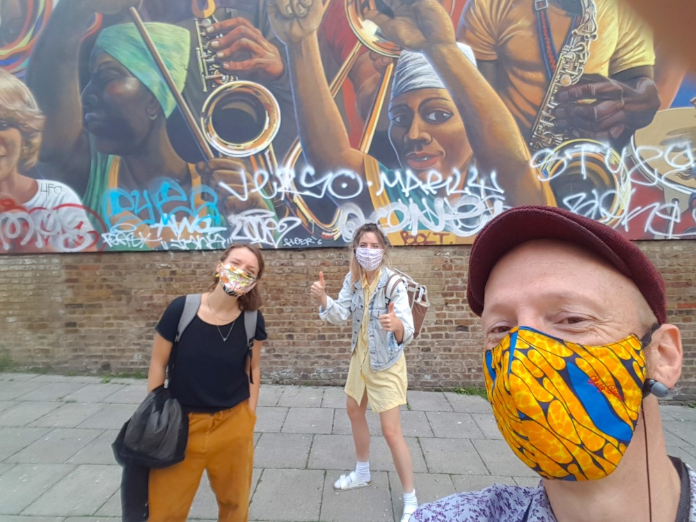 Funzing pic masks Dalston peace mural tour tweaked